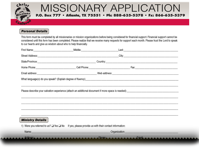 Missionary Application Form